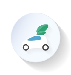 Environmentally friendly car flat icon vector