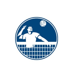 Volleyball player spiking ball circle icon vector
