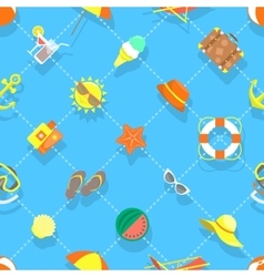 Flat summer vacation beach icons seamless vector