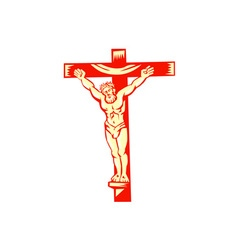 Jesus christ on cross woodcut vector