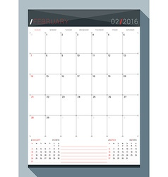 February 2016 design print template monthly vector