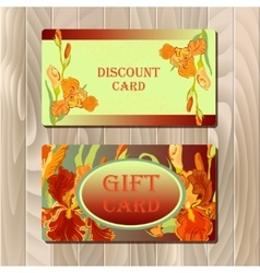 Discount card printable template with red iris vector