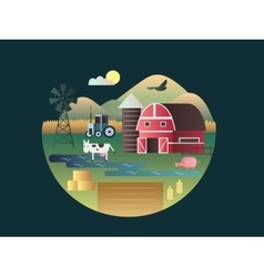 Farm concept flat design vector