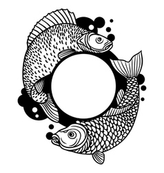 Circle frame with decorative fish Image for vector image