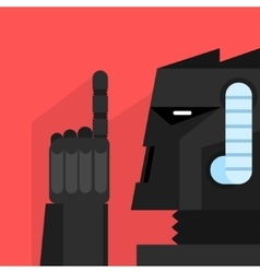 Black robot with finger up vector