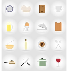 Objects for food flat icons 17 vector