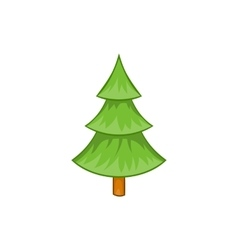 Fir tree icon in cartoon style vector