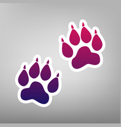 Animal tracks sign purple gradient icon vector