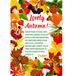 autumn leaf and mushroom poster template design vector image