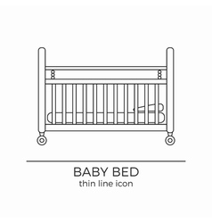 Baby bed line icon vector