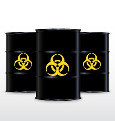 Black barrel with yellow biohazard symbol isolated vector