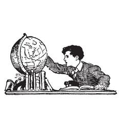 boy looking at globe or world vintage engraving vector image vector image