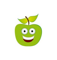 Color green kawaii fruit apple happy icon vector