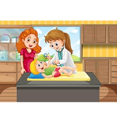 Doctor looking up the boy in clinic vector