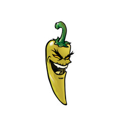 Evil yellow hot chili pepper vector