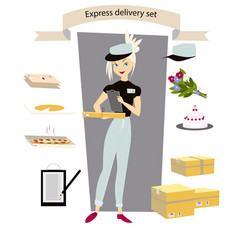 Express delivery set young girl courier with a vector
