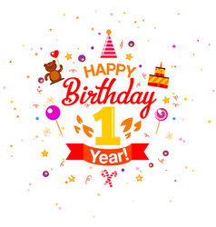 First birthday greetings card vector
