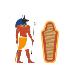 flat anubis god and empty sarcophagus icon vector image vector image