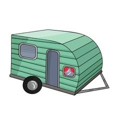 Green caravan icon in cartoon style isolated on vector image