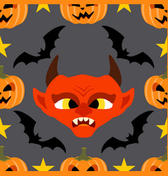 halloween background seamless with devil vector image