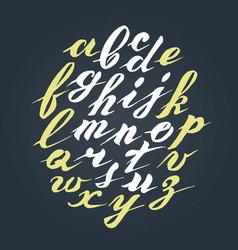 hand written lettering alphabet brushed vector image