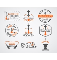 Hookah labels badges and design elements vector