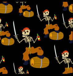 jolly roger skeleton seamless vector image