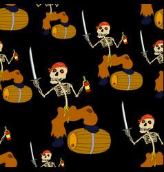 Jolly roger skeleton seamless vector