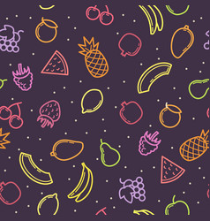 Linear seamless pattern fruits vector
