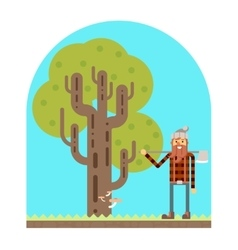 Lumberjack Tree wood nature concept flat design vector image
