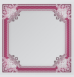 Oriental frame on pink chinese pattern background vector