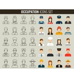 Professions Flat Icons Outline icons and vector image vector image