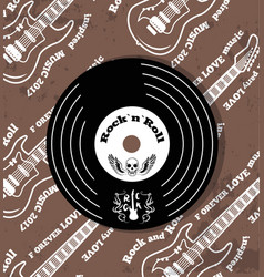 rock n roll vinyl and skull vector image