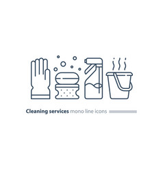 sanitation objects set cleaning equipment items vector image