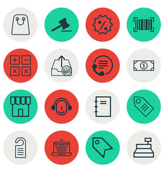 Set of 16 ecommerce icons includes ticket till vector