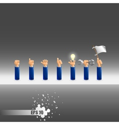 set of seven hand gestures vector image