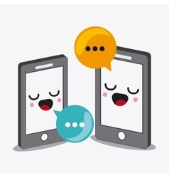 Smartphone cartooon icon kawaii and technology vector
