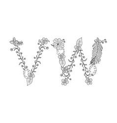 Tropical floral letter vw vector