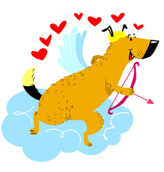 valentine day dog character dog in cupid or vector image