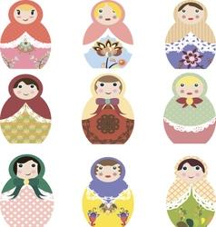 Russian dolls vector