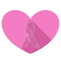 Flat icon of pink ribbon vector image
