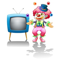 A clown standing near the TV vector image