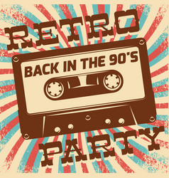 Retro party poster design disco music event at vector