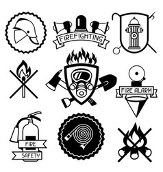 Set of badges and labels with firefighting items vector