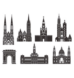 eastern europe european buildings on white vector image