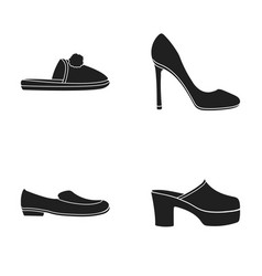 Homemade slippers with a pampon high-heeled women vector
