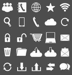 Communication icons on gray background vector