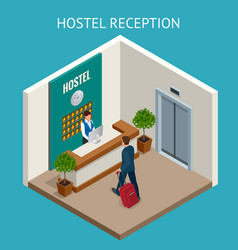 Hotel receptionist modern luxury hotel reception vector