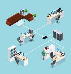 Office computer net isometric vector