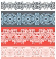 Seamless ornamental floral stripes vector